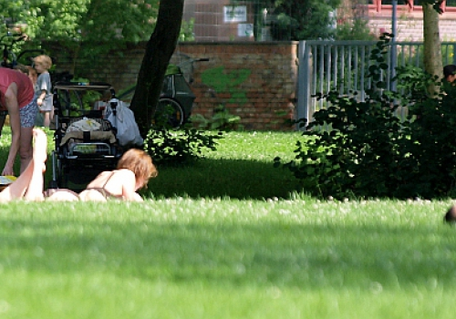 Menschen sonnen sich in einem Park, über dts Nachrichtenagentur