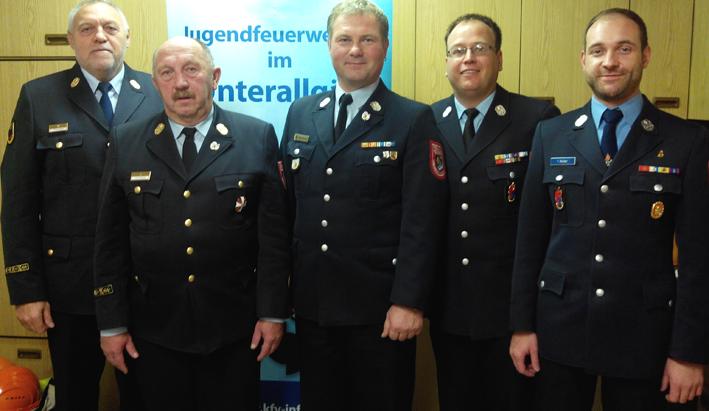 v.l. Franz Gaum, Leo Krywult, Stefan Albrecht, Andreas Thiel und Tobias Reiber Foto: Kreisbrandinspektion Unterallgäu