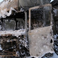A96-Wangen - Zwei Lkw gehen bei Unfall in Flammen auf