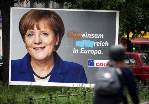 Beschmiertes CDU-Wahlplakat zur Europawahl, über dts Nachrichtenagentur