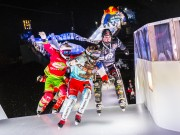Scott Croxall of Canada, Kilian Braun of Switzerland, Tristan Dugerdil of France and Dean Moriarity of Canada compete during the second stage of the Ice Cross Downhill World Championship at the Red Bull Crashed Ice in Munich, Germany on January 9, 2016.