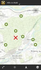 """Im Google Play Store finden Sie die App unter den Stichworten """"Rettungspunkte"""", """"Rettungstreffpunkte"""" oder """"Hilfe im Wald"""". Foto: INTEND Geoinformatik GmbH"""