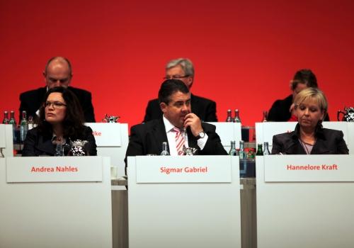 Nahles, Gabriel und Kraft auf dem SPD-Parteitag in Leipzig, über dts Nachrichtenagentur