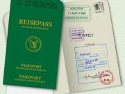reisepass mit visa und stempel