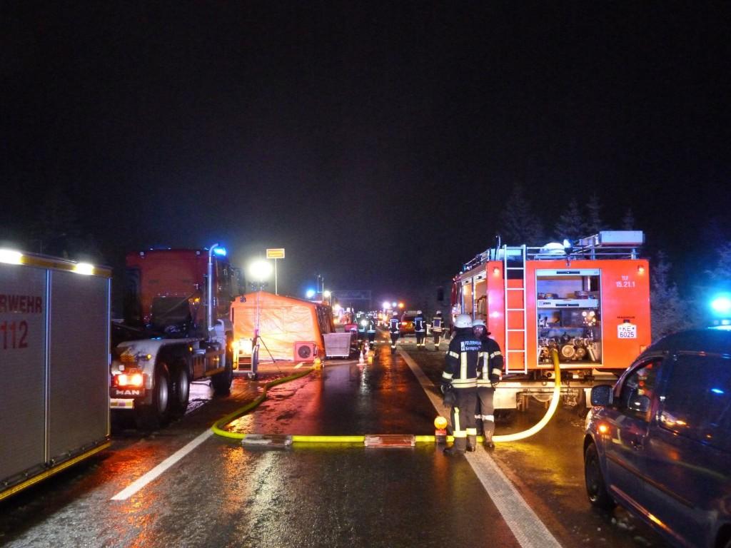 Übersicht von hinten nach vorne zur Einsatzstelle. Foto: Feuerwehr Kempten