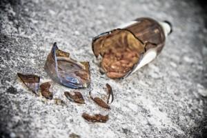 Shattered brown beer bottle Selective focus.