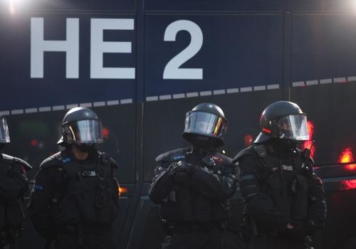 Polizei bei Anti-G20-Protest in Hamburg, über dts Nachrichtenagentur