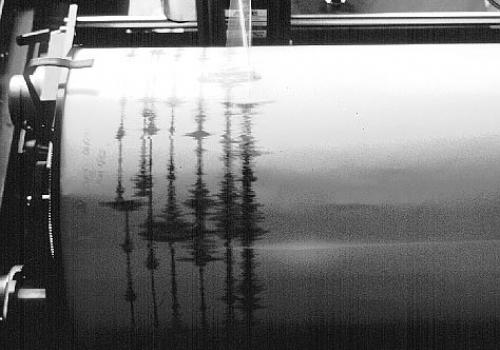 Seismograph bei der Aufzeichnung eines Erdbebens, über dts Nachrichtenagentur
