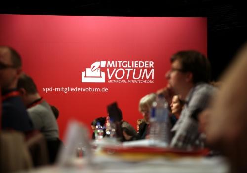 Werbung für SPD-Mitgliederentscheid auf SPD-Parteitag, über dts Nachrichtenagentur
