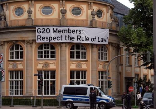 G20-Protestbanner in Hamburg, über dts Nachrichtenagentur