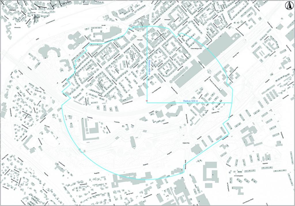 Stadt Neu-Ulm Stadtkarte Evakuierungszone mit Hausnummern
