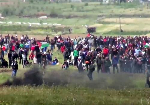 Proteste im Gazastreifen Ende März 2018, IDF,  Text: über dts Nachrichtenagentur