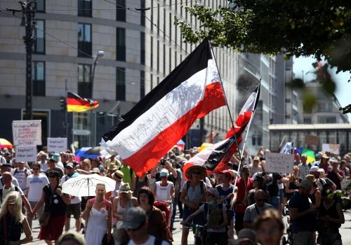 Demo von Corona-Skeptikern am 01.08.2020, über dts Nachrichtenagentur
