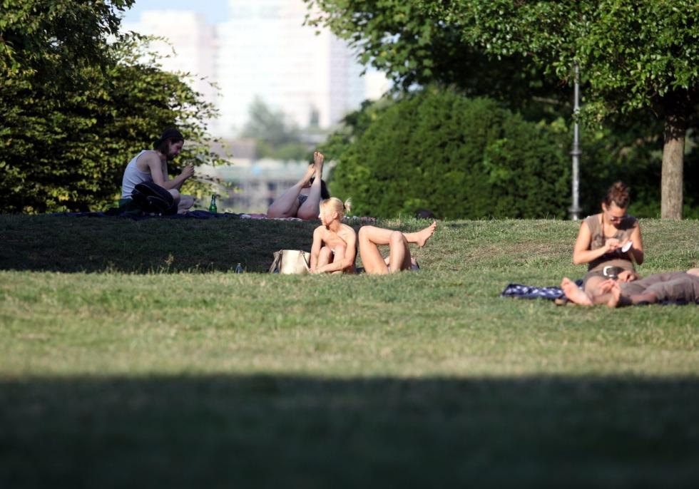 Sonnenbaden auf einer Wiese, über dts Nachrichtenagentur