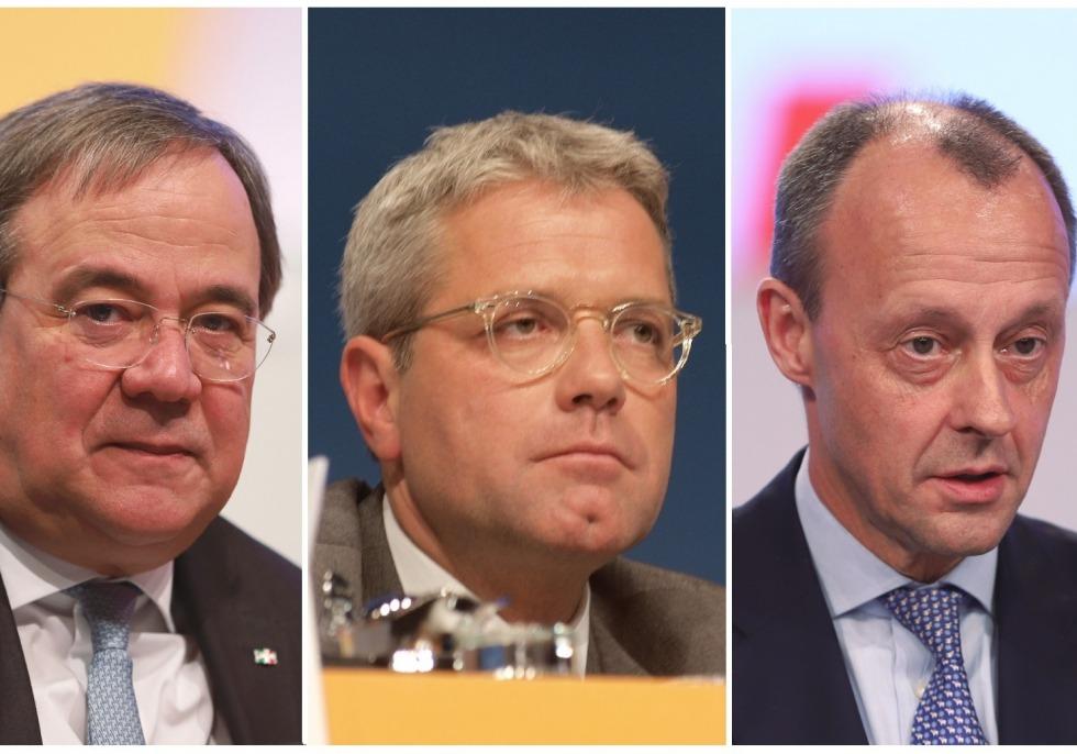 Kandidaten für den CDU-Vorsitz Laschet, Röttgen und Merz, über dts Nachrichtenagentur