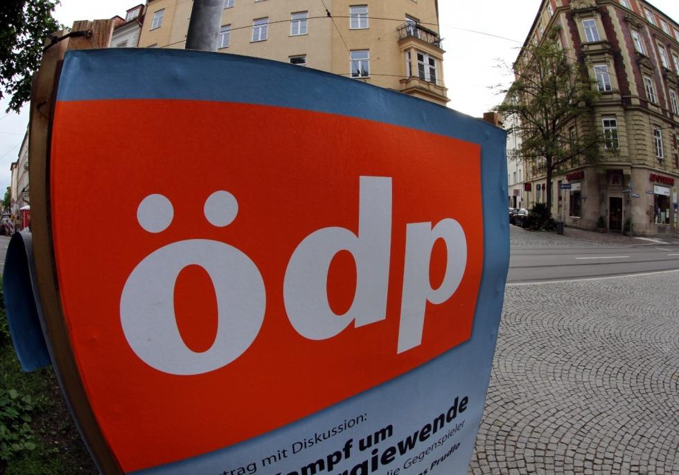 Wahlplakat für die ÖDP (Ökologisch-Demokratische Partei), über dts Nachrichtenagentur